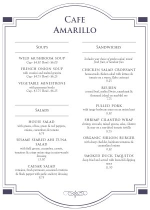 Spanish Cafe A4 Menu