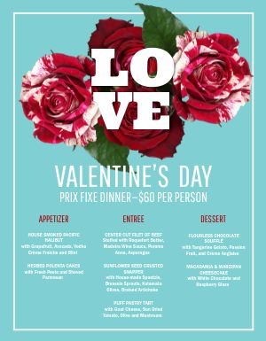 Valentines Day Love Menu