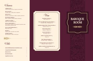 Maroon Fine Dining Folded Menu