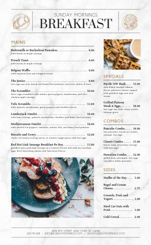 Morning Breakfast Menu Example