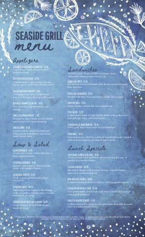 Seaside Seafood Menu