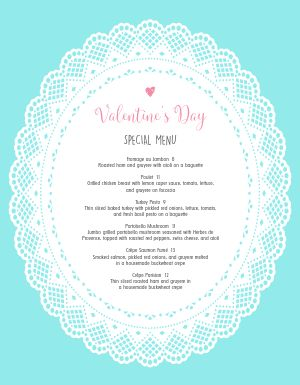 Blue Valentines Day Menu