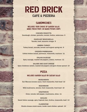 Pizzeria Cafe Menu