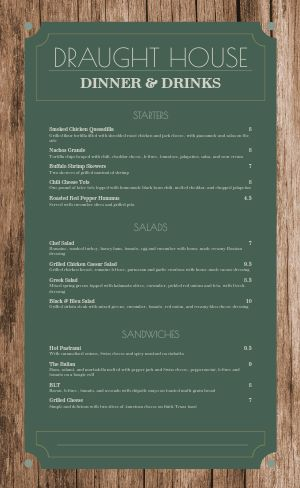 Wooden Pub Menu