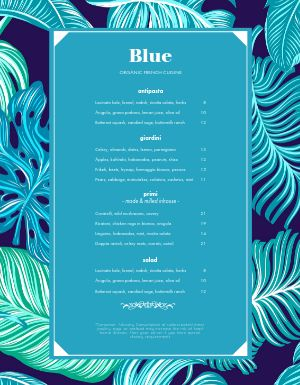 Blue French Menu
