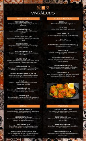 Vindaloo Indian Menu