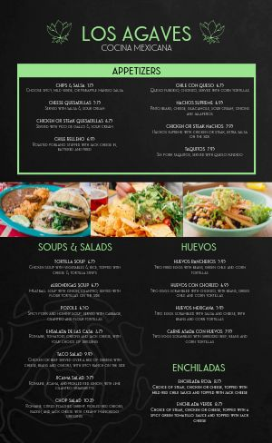 Elegant Mexican Menu