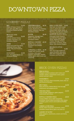 Olive Pizza Menu