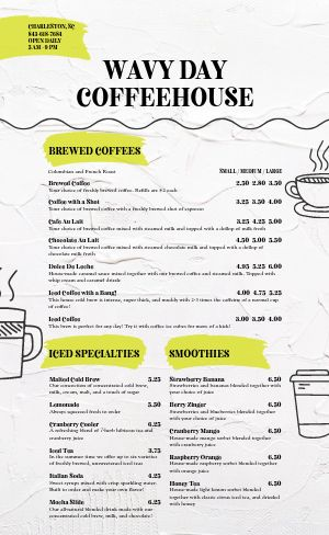 Coffee Cup Menu