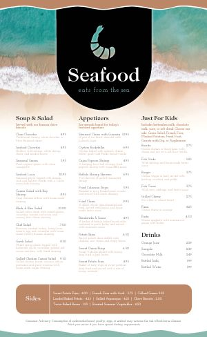 Beach Seafood Menu
