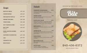 Sandwich Shop Deli Takeout Menu