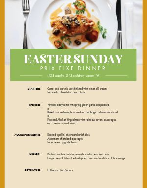 Easter Sunday Dinner Specials Menu