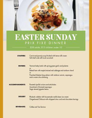 Easter Sunday Dinner Specials Menu