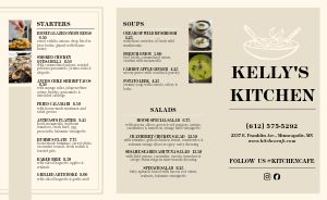 Lunch Cafe Takeout Menu