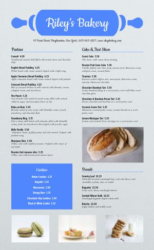 Sample Bakery Menu