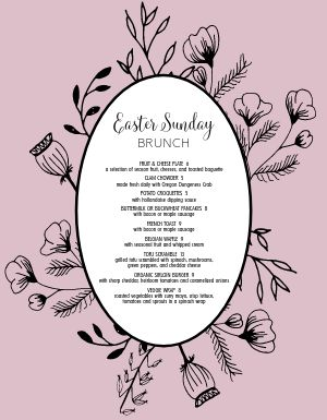 Easter Sunday Specials Menu
