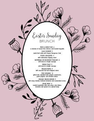 Easter Sunday Specials Menu