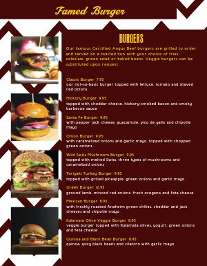 Epic Burger Menu