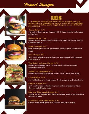 Epic Burger Menu
