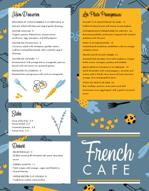 French Brasserie Pub Menu