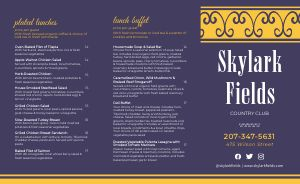 Elegant Country Club Catering Takeout Menu
