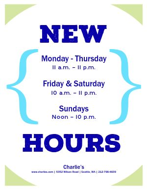 Brand New Hours Flyer