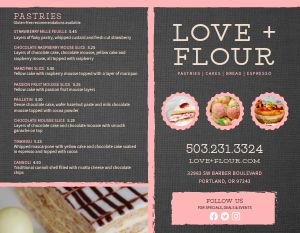 Pink Bakery Bifold Takeout Menu
