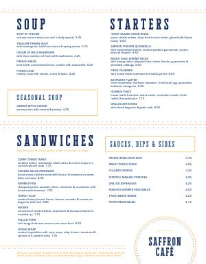 Plain Cafe Menu