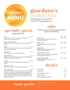 Beautiful Pizza Menu