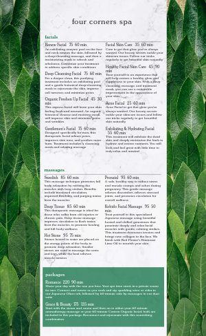 Leafy Spa Menu