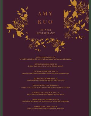 Chinese Fine Dining Menu