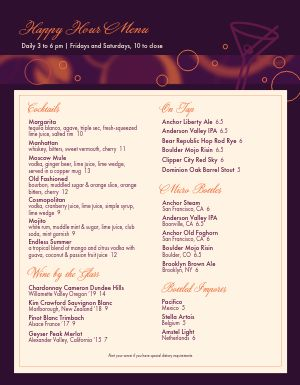 Bar Happy Hour Menu
