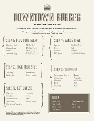 Simple Burger Build Menu