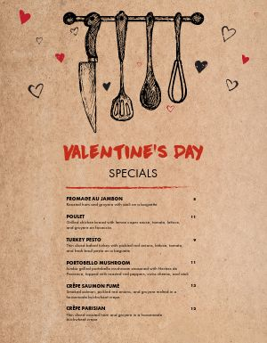 Valentines Day Chef Specials Menu