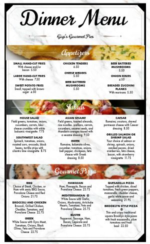 Dine In Pizza Menu