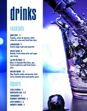 Splash Bar Menu