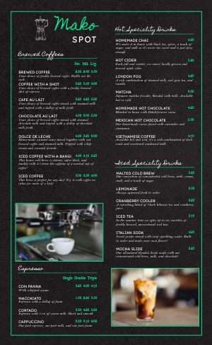 Electric Coffee Menu