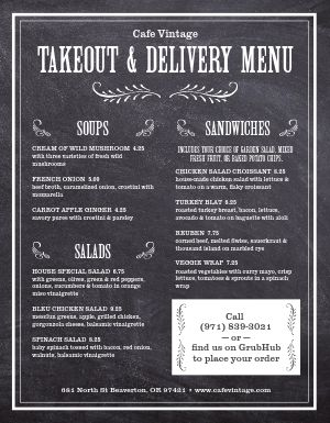 Chalk Takeout Menu