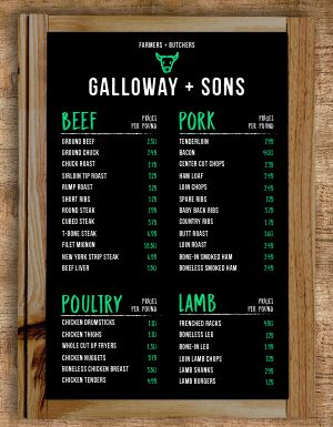 Butcher Shop Farmers Market Menu