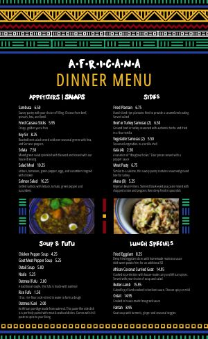 African Kitchen Menu