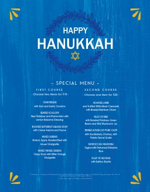Happy Hanukkah Menu