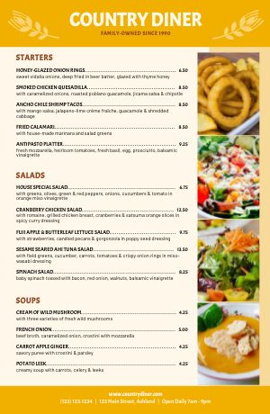 Country Style Tabloid Menu