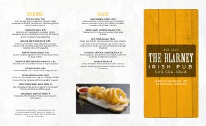 Golden Irish Takeout Menu
