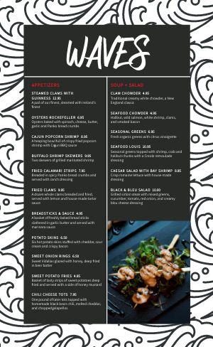 Contemporary Seafood Menu