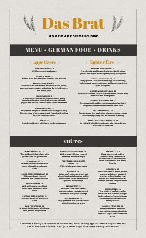 Gray German Menu