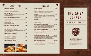 Woodgrain Pizza Takeout Menu
