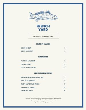 French Fish House Menu