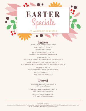 Easter Spring Menu