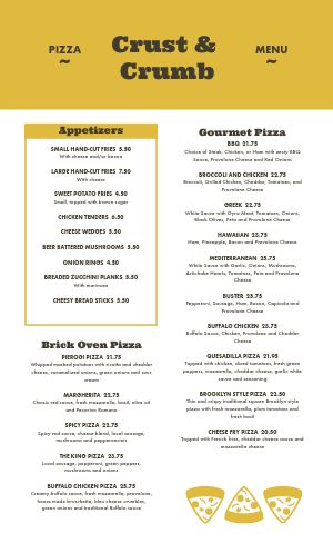 Golden Pizza Menu