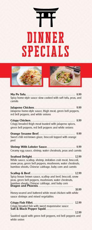 Chinese Dinner Half Page Menu